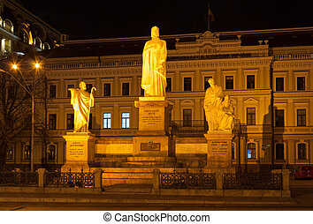 Statues of saints Andrey, Ol'ga, Kirilo and Mefodiy
