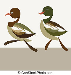 ducks - The two ducks are walking - vector