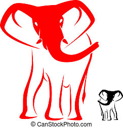 elephant - Vector image of an elephant on a white background