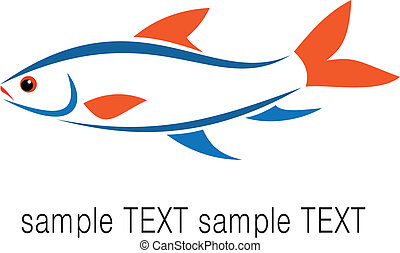 Fish on white background, vector