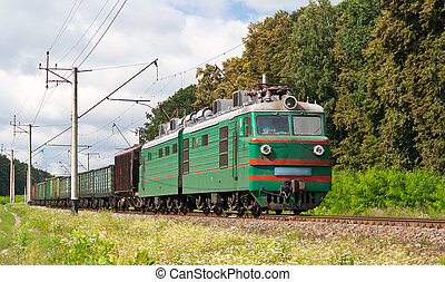 Freight electric train in Kyiv region, Ukraine