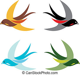 birds - Four colorful birds in flight on white background -...