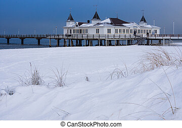 Pier in Ahlbeck (Germany) in winter.