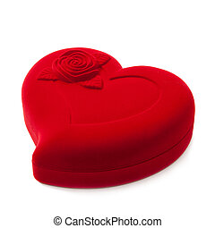 Red heart-shaped fancy box, isolated against white...