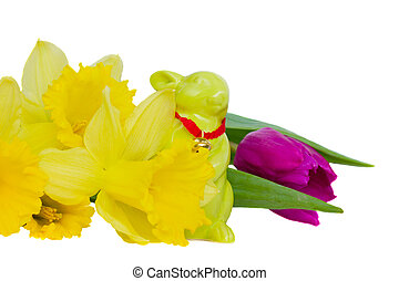 easter flowers and bunny isolated on white background