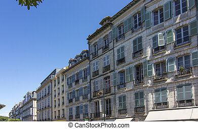 Fine old houses in the city of Bayonne in France