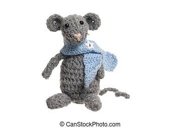 Crochet Mouse, Handmade, White Background. - Grey handmade...