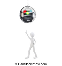 3d man at party with disco ball on white background
