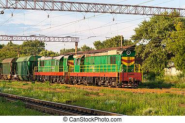 dos, shunters, carga, tren, estación