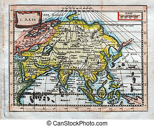 original antique map of Asia - 1764 Buffier colored map of...