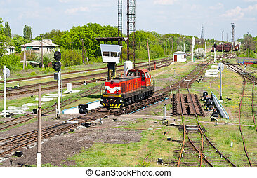Shunter on a retarder of a hump yard in Ukraine