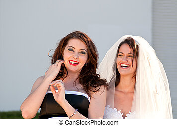 Happy bride and her best friend
