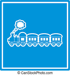 Train - cute blue train on blue background isolated