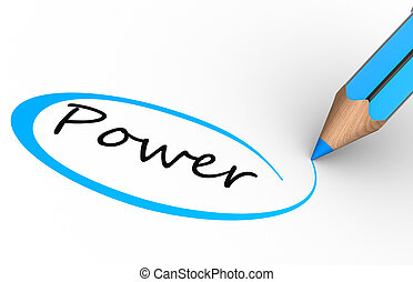 "Power - 3d a pencil and word ""power"". 3d render"
