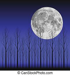 Moon and Tree - Layered vector illustration scene of moon...