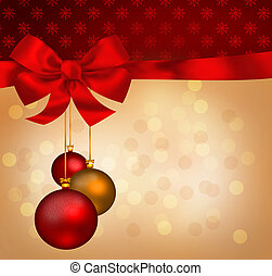 Christmas balls with bow and ribbon background illustration
