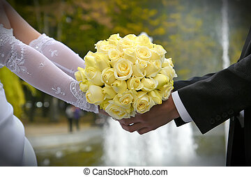 bouquet of wedding flowers - yellow wedding bouquet in the...