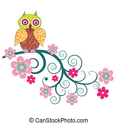 A cute owl sitting on the branch of flowers vector...