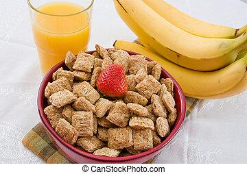 trigo, quadrados, laranja, suco, bananas, pequeno almoço