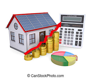 House with solar panels, calculator, schedule, and coins....