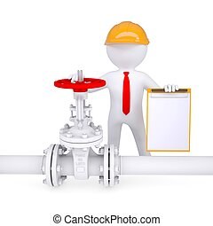 3d man with a clipboard next to the valve on the pipeline...