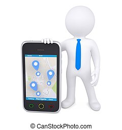 3d man and a smartphone with a map and marks Isolated render...