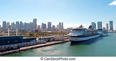 Port of Miami, Florida - A Wide View of the Port of Miami,...