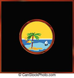 beach with palm in the frame vector illustration