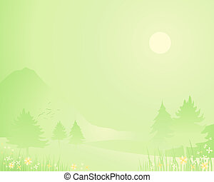 spring season background - an illustration of a springtime...