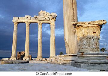 Ruins of Apollo temple in Side, Turkey