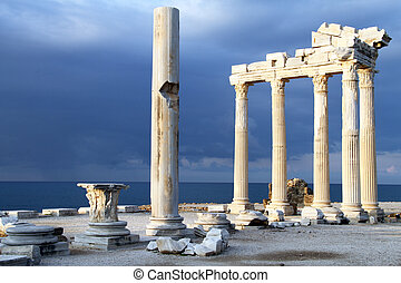Apollo temple - Dark blue sky and ruins of Apollo temple in...