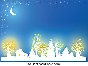 Christmas and New Years background with the moon, forest,...