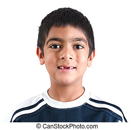 Toothless - A six year old boy stands and gives a toothless...