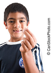 Toothless - A six year old boy shows off his broken tooth
