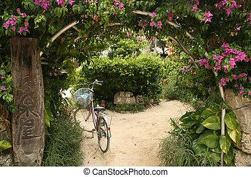 Floral Archway - Taketomi Island , Okinawa, Japan