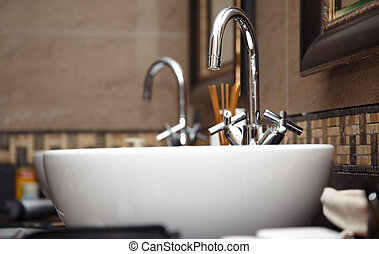 Sink with taps - Close-up photo of chrome sink with taps