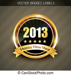 new year label vector - beautiful 2013 happy new year label...