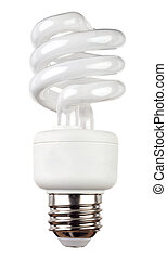 Fluorescent light bulb isolated - Energy saving fluorescent...