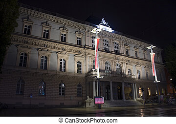 Innsbruck at night - Ferdinandeum Museum in Innsbruck