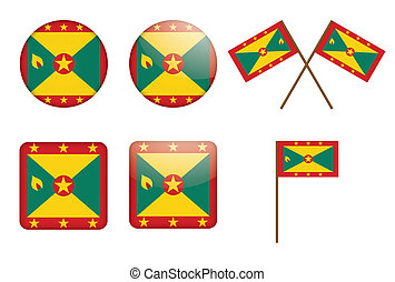 badges with flag of Grenada - set of badges with flag of...