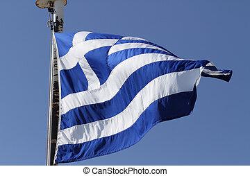 griego, nacional, bandera
