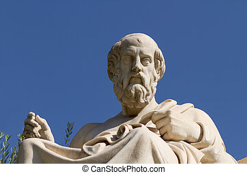 Statue of Plato in Greece - Plato, Greek philosopher A...