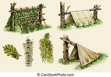 survival shelters in the woods - Illustration of survival...