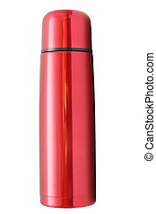 isolated red thermos - closed red thermos isolated over...