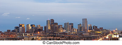 Denver. - Panoramic image of Denver skyline at sunset.