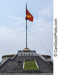 Vietnam - DMZ Cot Co flag tower against blue skies. - Stairs...
