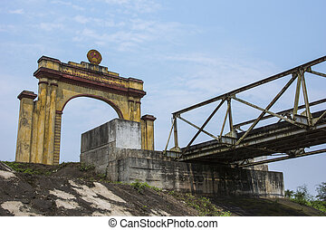 Vietnam DMZ - triumphal arch on North Vietnamese side of...