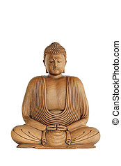 Buddha in Meditation - Wooden Buddha with eyes closed in...