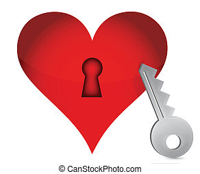 Red heart and key