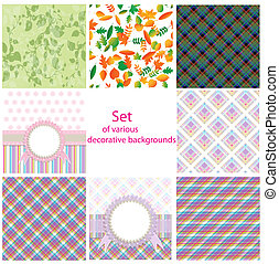 Set of various decorative backgrounds
